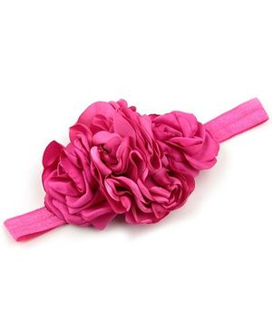 Bellazaara Triple Rose Peony Layered Burnt Edge  Flower Headband - Fushia Pink