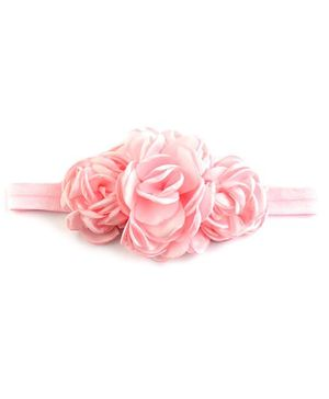 Bellazaara Triple Rose Peony Layered Burnt Edge Flower Headband - Light Pink