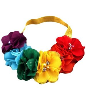 Bellazaara Rainbow Flower With Rhinestone Baby Girl Headband - Multicolor