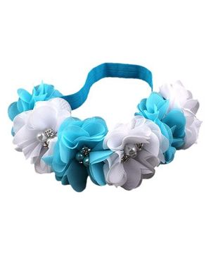 Bellazaara Rainbow Flower With Rhinestone Baby Girl Headband - Blue & White