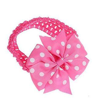 Bellazaara Baby Girl Polka Dot Bowknot On Wide Crochet Headband  - Fushia Pink