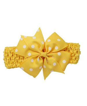 Bellazaara Baby Girl Polka Dot Bowknot On Wide Crochet Headband  - Yellow