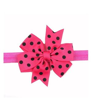 Bellazaara Baby Girl Ribbon Flower Polka Dots Bow Headband - Pink & Black