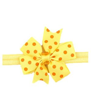 Bellazaara Baby Girl Ribbon Flower Polka Dots Bow Headband - Yellow