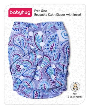 Babyhug Free Size Reusable Printed Cloth Diaper With Insert - Multicolour