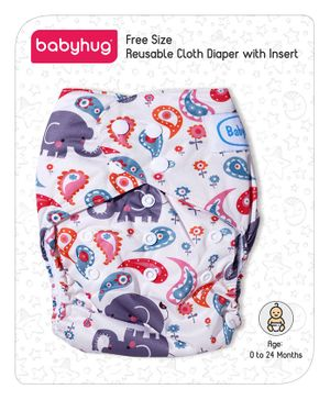 Babyhug Free Size Reusable Printed Cloth Diaper With Insert - White