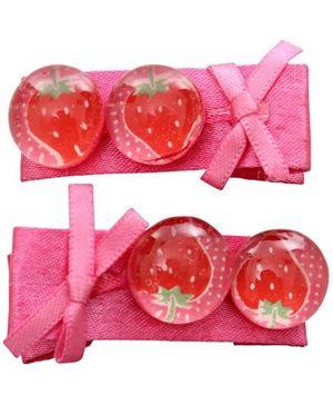 Kid Hair Clips - Strawberry Print
