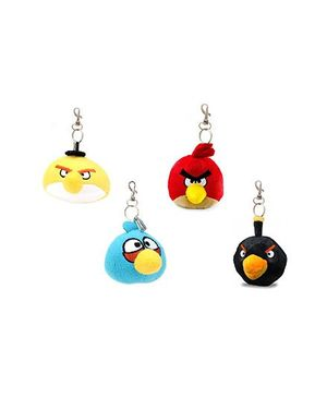 Flyers Bay Angry Bird Plush Soft Toy With Detachable Keychain Multicolor - Pack Of 4