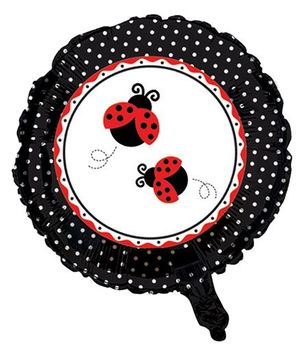 Charmed Celebrations Foil Balloon Ladybug Print - Black and Red