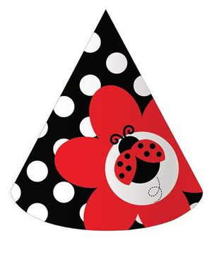 Charmed Celebrations Ladybug Fancy Hats Red And Black - Pack of 8