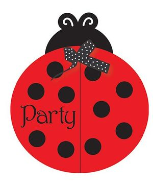 Charmed Celebrations Ladybug Fancy Invites Red And Black - Pack of 8