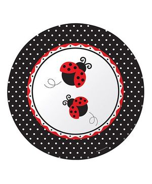 Charmed Celebrations Paper Plates Pack of 24 Ladybug Print - Black and Red