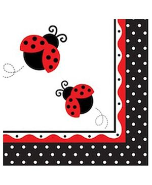 Charmed Celebrations Paper Napkins Pack of 50 Ladybug Print - Red Black