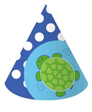 Charmed Celebrations Mr Turtle Hats Blue - Pack of 8