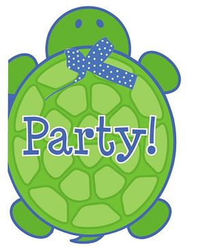 Charmed Celebrations Mr Turtle Invites Green And Blue - Pack of 8