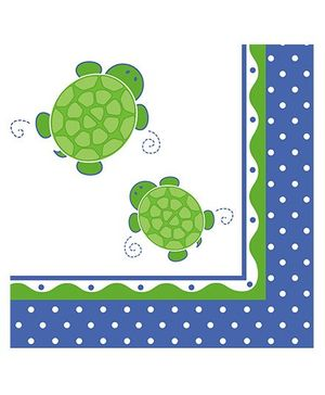 Charmed Celebrations Paper Napkins Pack of 50 Tortoise Print - Blue