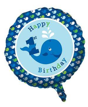 Charmed Celebrations Foil Balloon Whale Print - Blue