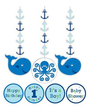 Charmed Celebrations Ocean Preppy Hanging Deco - Blue