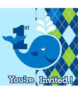 Charmed Celebrations Ocean Preppy Invites Blue - Pack of 8
