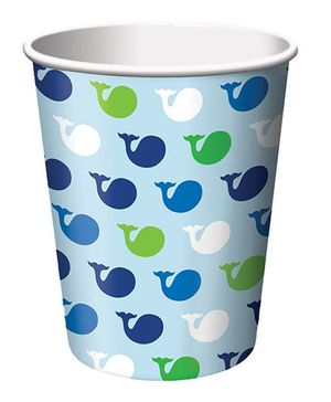 Charmed Celebrations Paper Cups Pack of 8 Whale Print Blue - 266 ml
