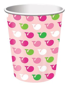 Charmed Celebrations Paper Cups Pack of 8 Whale Print Pink - 266 ml