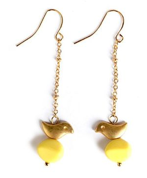 A.T.U.N Bead Bird Dangler Earrings - Yellow