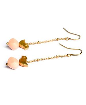 A.T.U.N Bead Bird Dangler Earrings - Peach