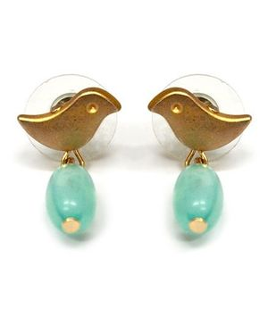 A.T.U.N Aqua Bead Bird Earrings - White