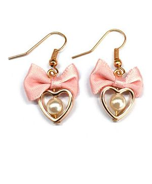 A.T.U.N Heart Bow Earrings - Peach