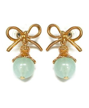 A.T.U.N Aqua Gem Stone & Bow Earrings - White