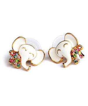 A.T.U.N Attractive Elephant Earrings - White