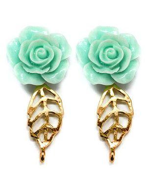 A.T.U.N Aqua-Gold Rose Leaf Earrings - Green & Golden
