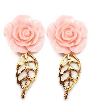 A.T.U.N Gold Rose Leaf Earrings - Peach