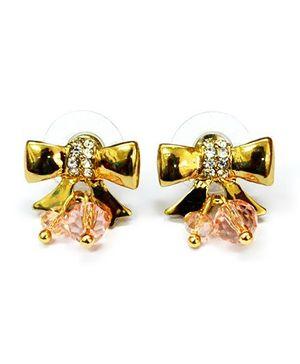 A.T.U.N Golden Diamante Studded Bow Earrings - Golden
