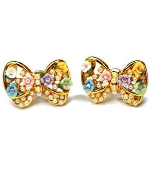 A.T.U.N Pearl and Stone Studded Bow Earrings - Multicolour