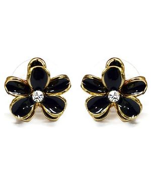 A.T.U.N Black Dainty Flower Earrings - Black