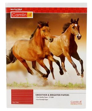 Camlin Four Lines Notebook Horse Print Brown - 72 Pages
