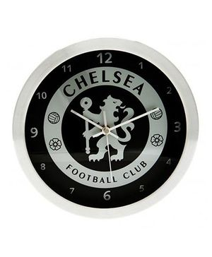 Chelsea FC Metallic Wall Clock - Black & Silver