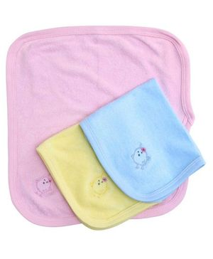 Simply Rabbit Print Napkin Pink Sky Blue Yellow - Set Of 3
