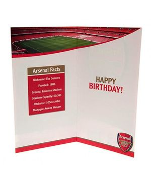 Arsenal FC Birthday Card No 1 Fan Red White Green - 1 Piece