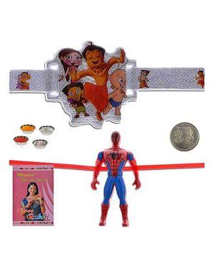 Litte India Chhota Bheem n Friends Design Cute Kids Rakhi And Spiderman Fancy Rakhi