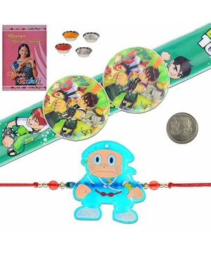 Litte India Ninja Hattori And Ben 10 Design Rakhi - Green And Blue