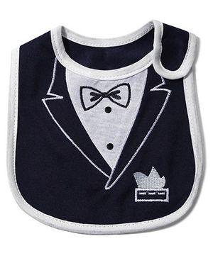 Babyhug Knitted Velcro Bib Bow Print - Blue