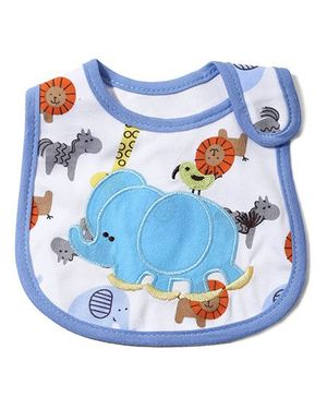 Babyhug Knitted Velcro Bib Elephant Print - Blue