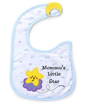 Babyhug Knitted Velcro Bib Little Star Print - Blue