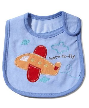 Babyhug Knitted Velcro Bib Born To Fly Print - Blue