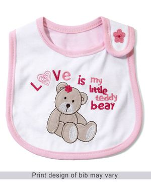 Babyhug Knitted Velcro Bib Little Teddy Bear Print - Pink