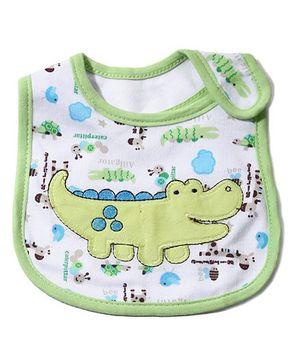 Babyhug Knitted Velcro Bib Crocodile Print - Green