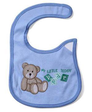Babyhug Bib Teddy Bear Embroidery - Blue