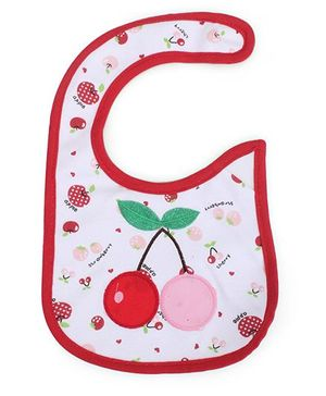 Babyhug Velcro Bib Cherry Embroidery - White & Red